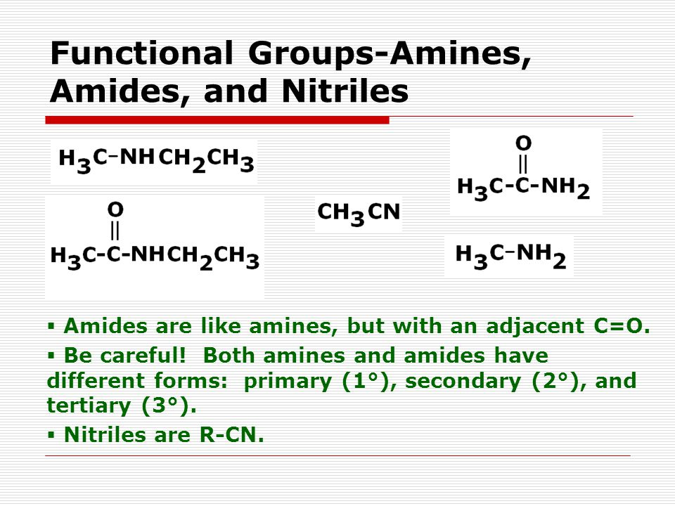 Functional Groups-Amines, Amides, and Nitriles  Amides are like amines, but with an adjacent C=O.
