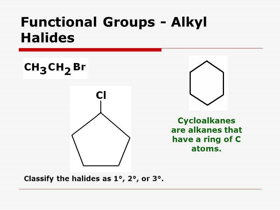Functional Groups - Alkyl Halides Cycloalkanes are alkanes that have a ring of C atoms.