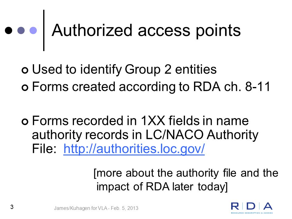 4 FRBR Group 2 entities in RDA Ch.8 = General guidelines … Ch.