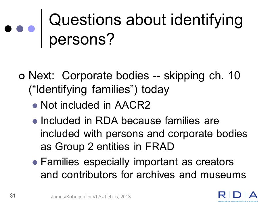 Questions about identifying persons. Next: Corporate bodies -- skipping ch.