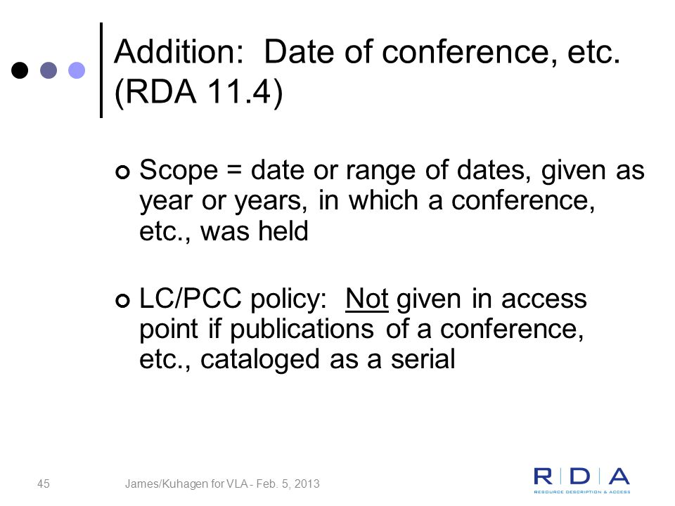45 Addition: Date of conference, etc.