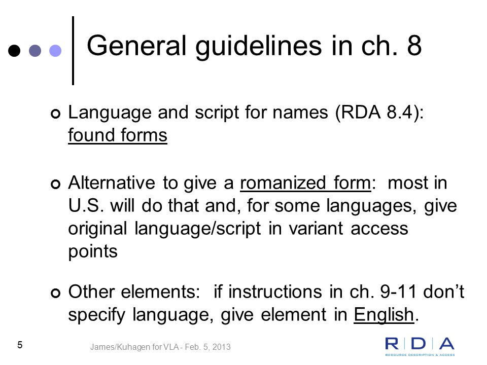 5 General guidelines in ch.