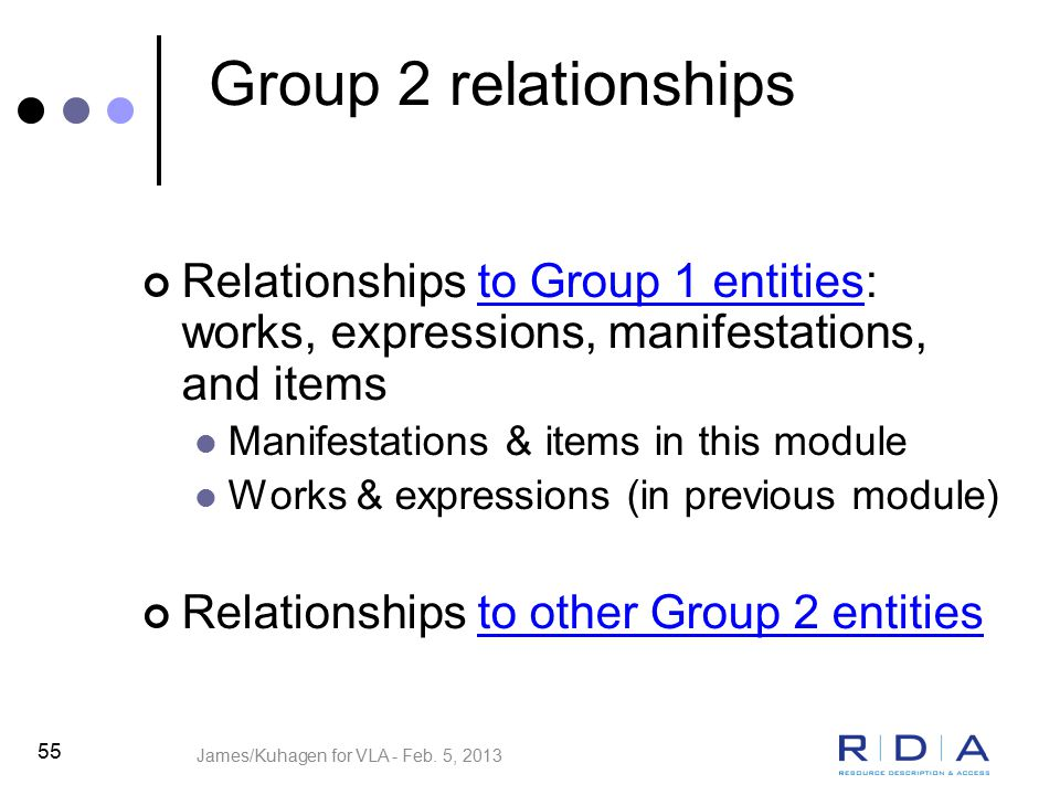 55 Group 2 relationships Relationships to Group 1 entities: works, expressions, manifestations, and items Manifestations & items in this module Works & expressions (in previous module) Relationships to other Group 2 entities James/Kuhagen for VLA - Feb.