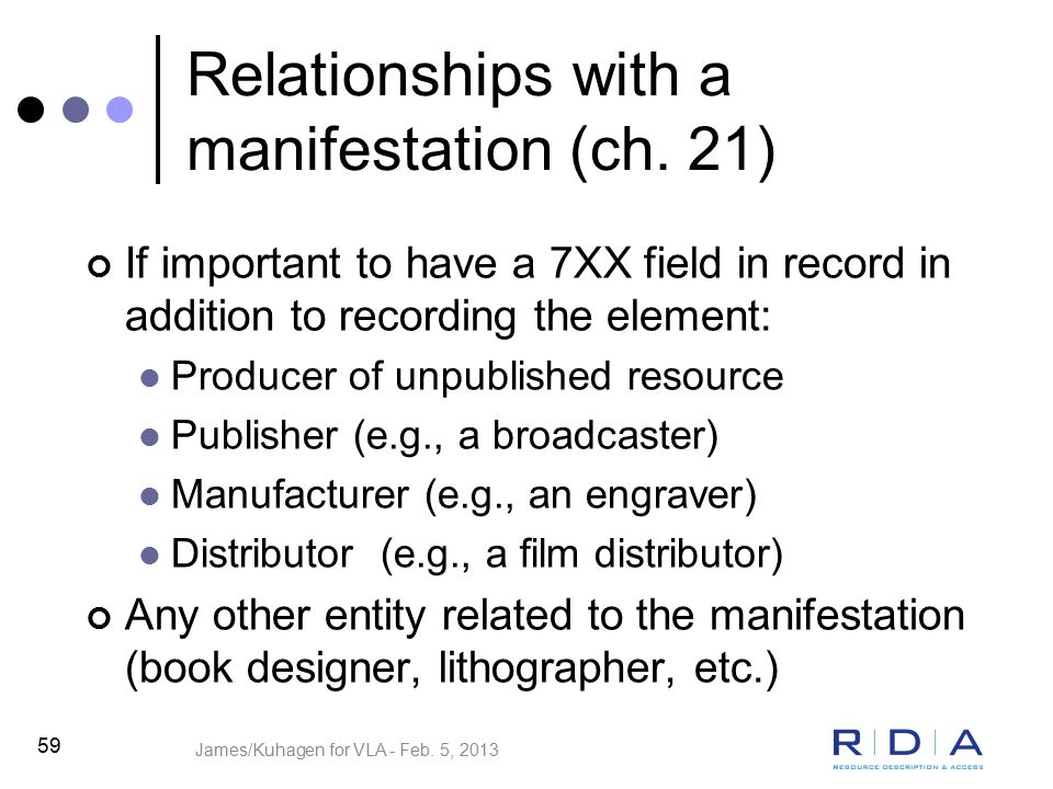 Relationships with a manifestation (ch.
