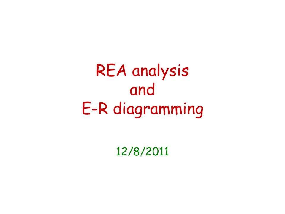 REA analysis and E-R diagramming 12/8/2011