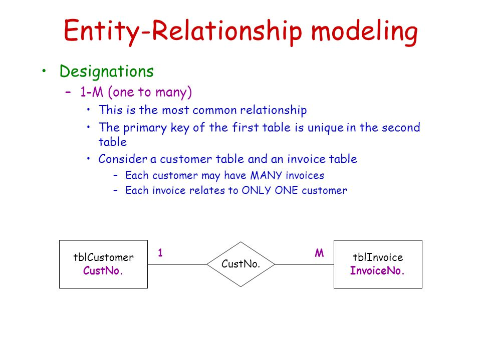 Entity-Relationship modeling Designations –1-M (one to many) This is the most common relationship The primary key of the first table is unique in the second table Consider a customer table and an invoice table –Each customer may have MANY invoices –Each invoice relates to ONLY ONE customer tblCustomer CustNo.