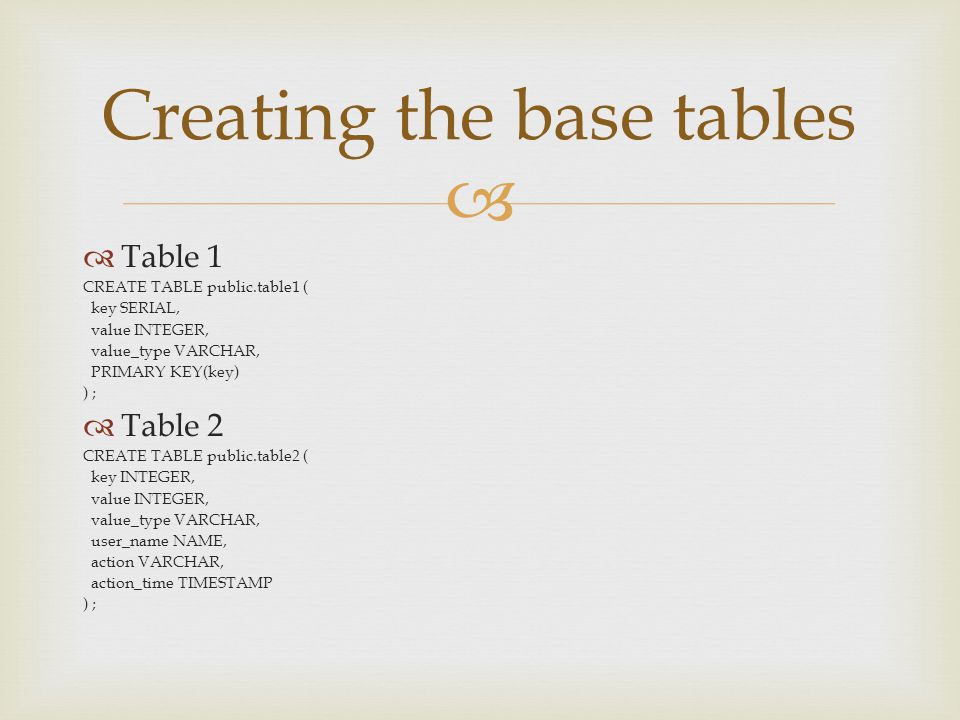   Table 1 CREATE TABLE public.table1 ( key SERIAL, value INTEGER, value_type VARCHAR, PRIMARY KEY(key) ) ;  Table 2 CREATE TABLE public.table2 ( ke