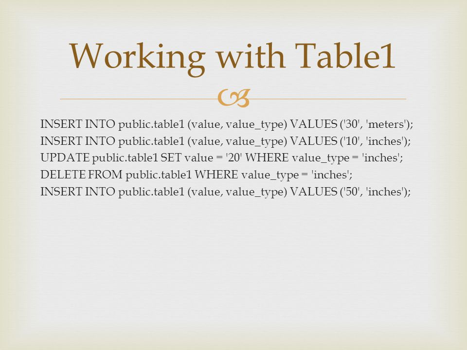  INSERT INTO public.table1 (value, value_type) VALUES ('30', 'meters'); INSERT INTO public.table1 (value, value_type) VALUES ('10', 'inches'); UPDATE