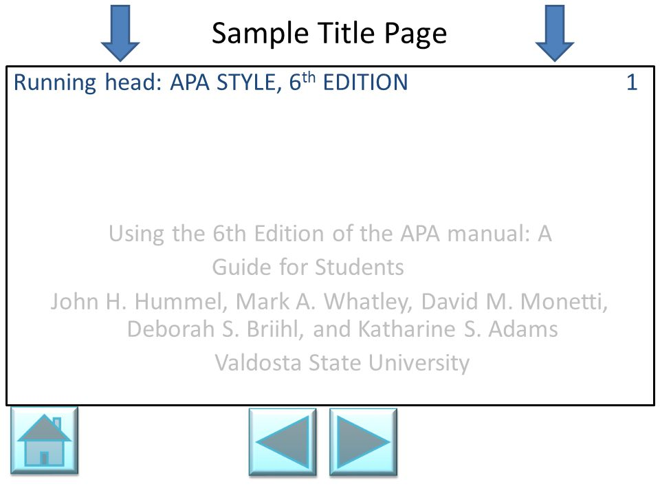 Sample Title Page Running head: APA STYLE, 6 th EDITION 1 Using the 6th Edition of the APA manual: A Guide for Students John H. Hummel, Mark A. Whatle