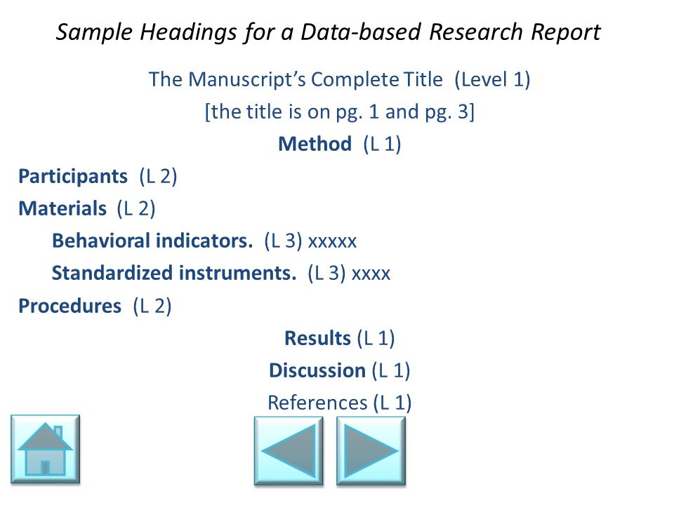 Sample Headings for a Data-based Research Report The Manuscript's Complete Title (Level 1) [the title is on pg. 1 and pg. 3] Method (L 1) Participants
