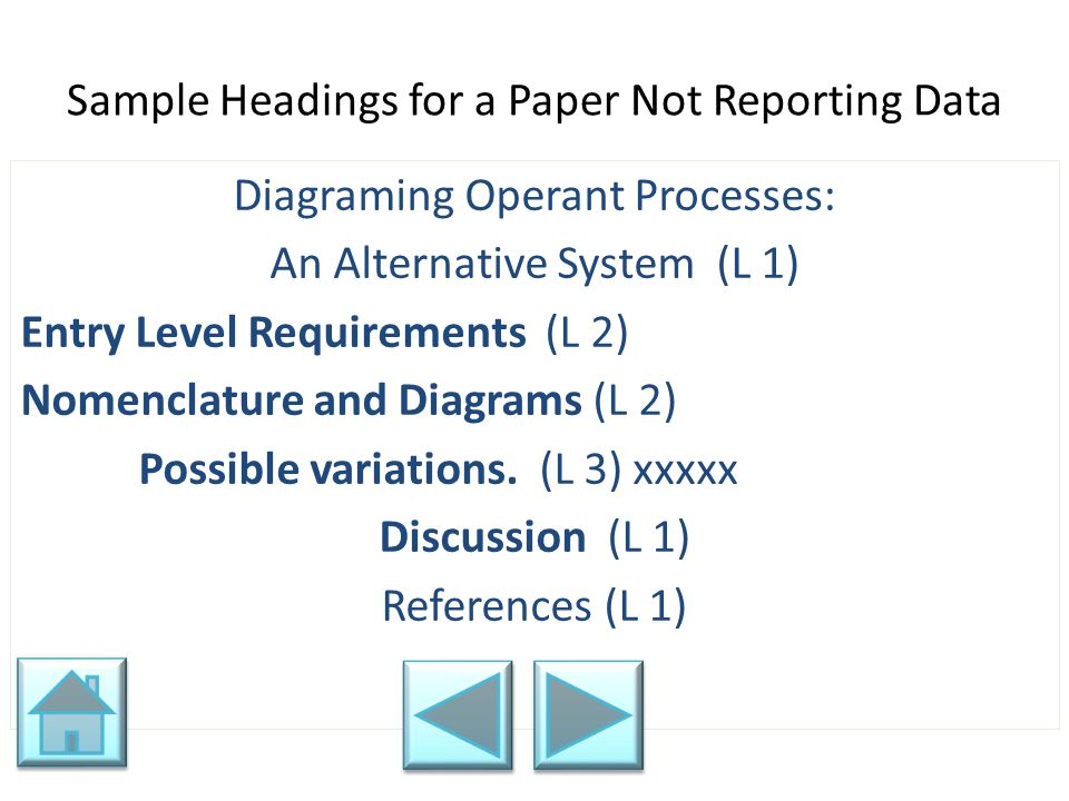 Sample Headings for a Paper Not Reporting Data Diagraming Operant Processes: An Alternative System (L 1) Entry Level Requirements (L 2) Nomenclature a
