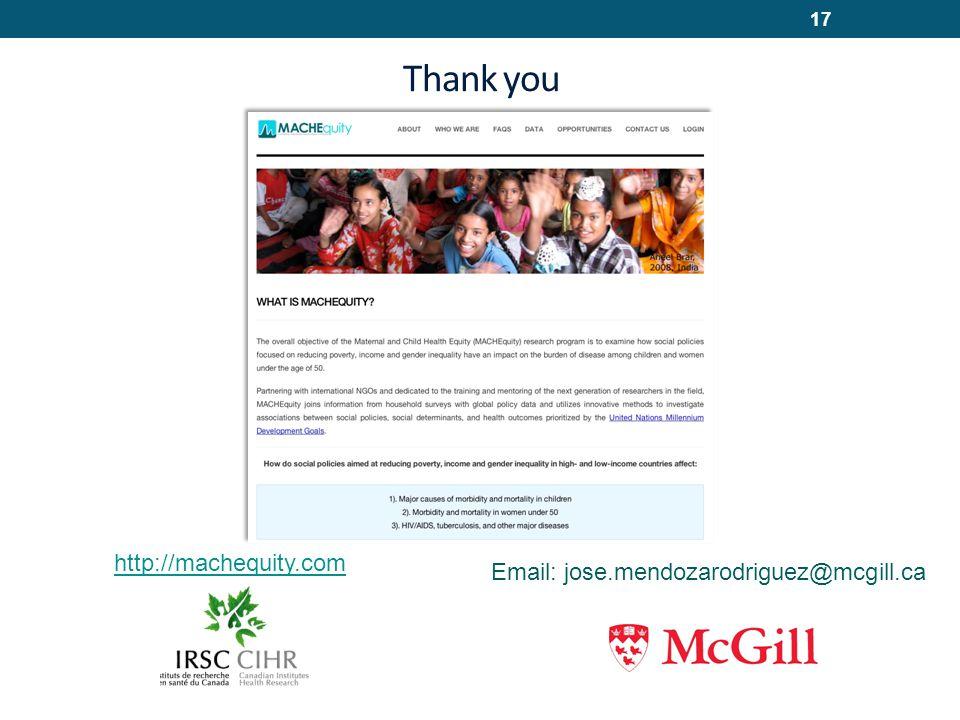 Thank you 17 Email: jose.mendozarodriguez@mcgill.ca http://machequity.com