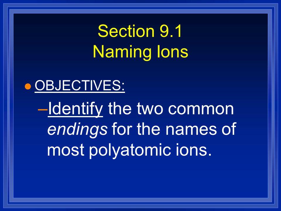 Practice by naming these: l Cl 1- l N 3- l Br 1- l O 2- l Ga 3+
