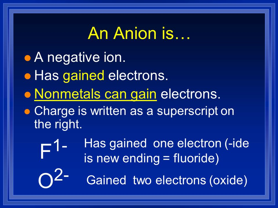 Polyatomic ions are… l Groups of atoms that stay together and have an overall charge, and one name.