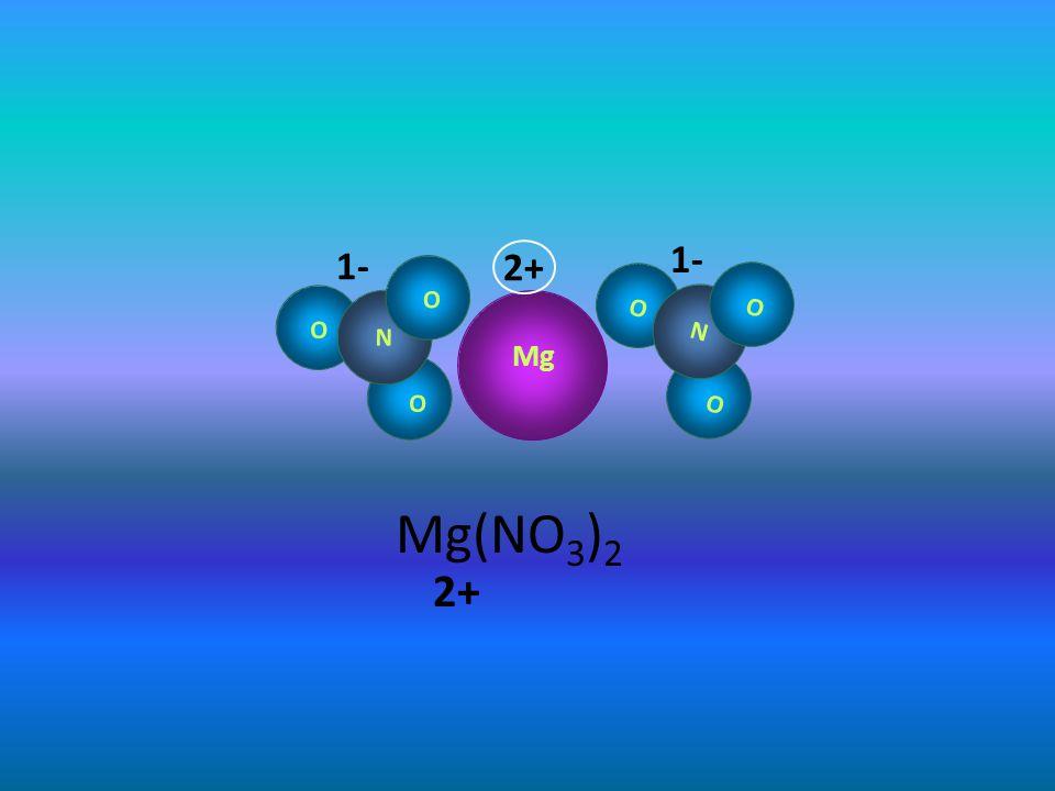 N O O O Mg N O O O 2+ 1-1- 1-1- Mg(NO 3 ) 2