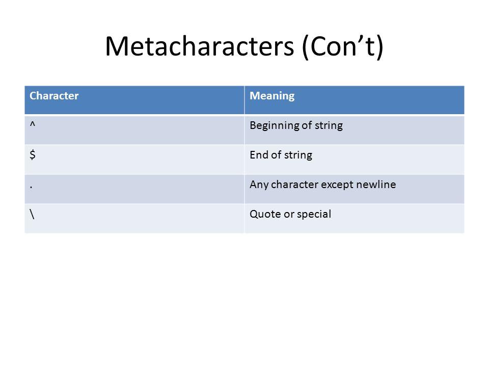 Simple Quantifiers Three main quantifiers: Star (*) Plus (+) Question mark (?)