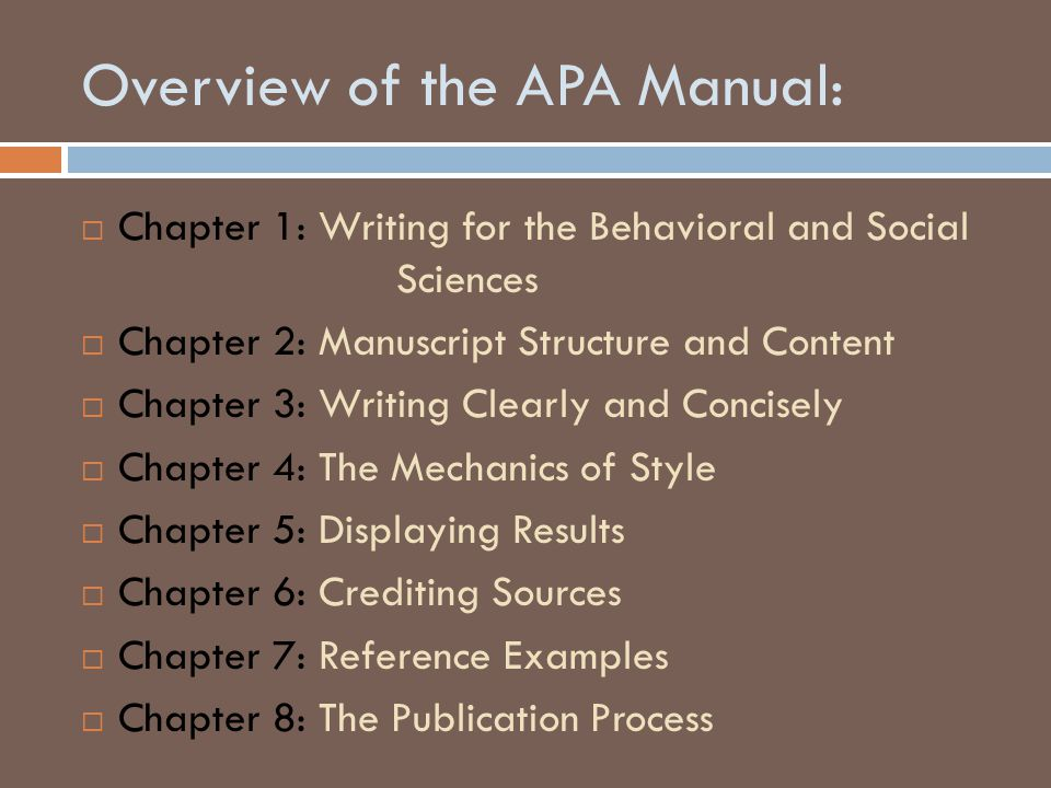 Overview of the APA Manual:  Chapter 1: Writing for the Behavioral and Social Sciences  Chapter 2: Manuscript Structure and Content  Chapter 3: Wri