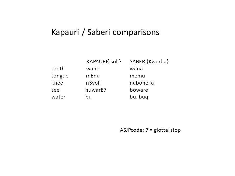 KAPAURI{isol.} tooth wanu tongue mEnu knee n3voli see huwarE7 water bu SABERI{Kwerba} wana memu nabone fa boware bu, buq Kapauri / Saberi comparisons ASJPcode: 7 = glottal stop