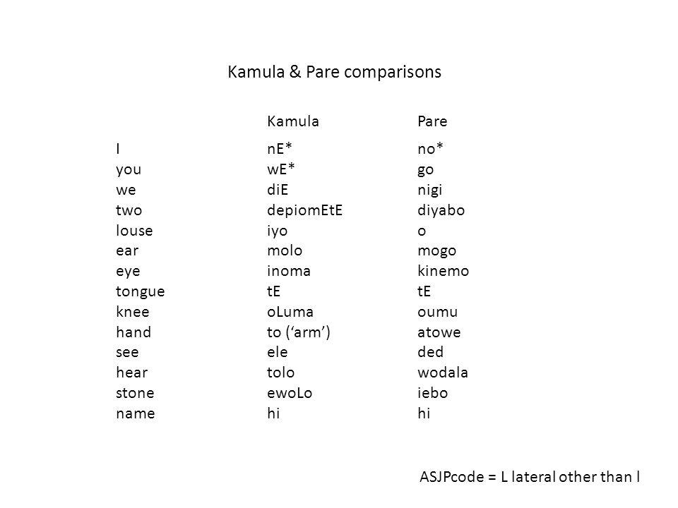 Kamula & Pare comparisons KamulaPare I you we two louse ear eye tongue knee hand see hear stone name nE* wE* diE depiomEtE iyo molo inoma tE oLuma to ('arm') ele tolo ewoLo hi no* go nigi diyabo o mogo kinemo tE oumu atowe ded wodala iebo hi ASJPcode = L lateral other than l