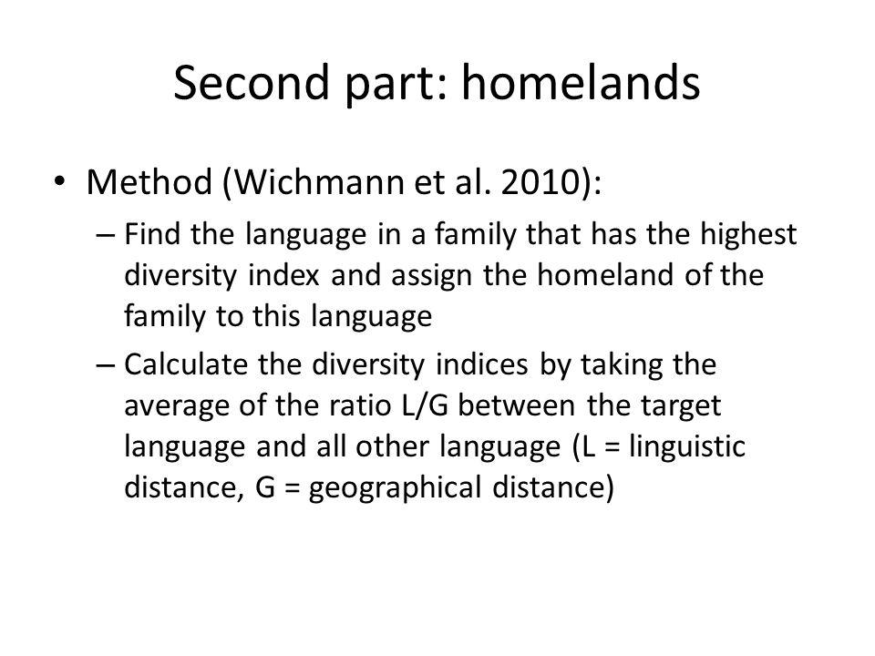 Second part: homelands Method (Wichmann et al.