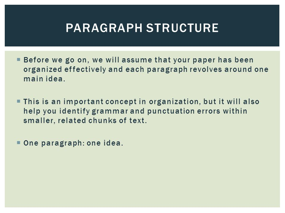  Before we go on, we will assume that your paper has been organized effectively and each paragraph revolves around one main idea.  This is an import