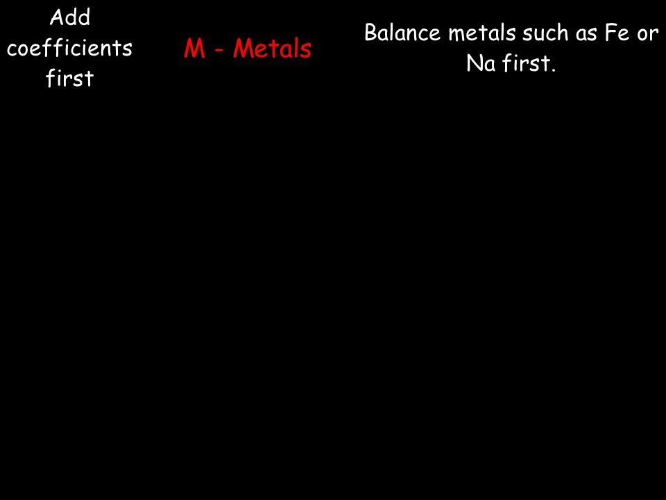 Add coefficients first M - Metals Balance metals such as Fe or Na first.