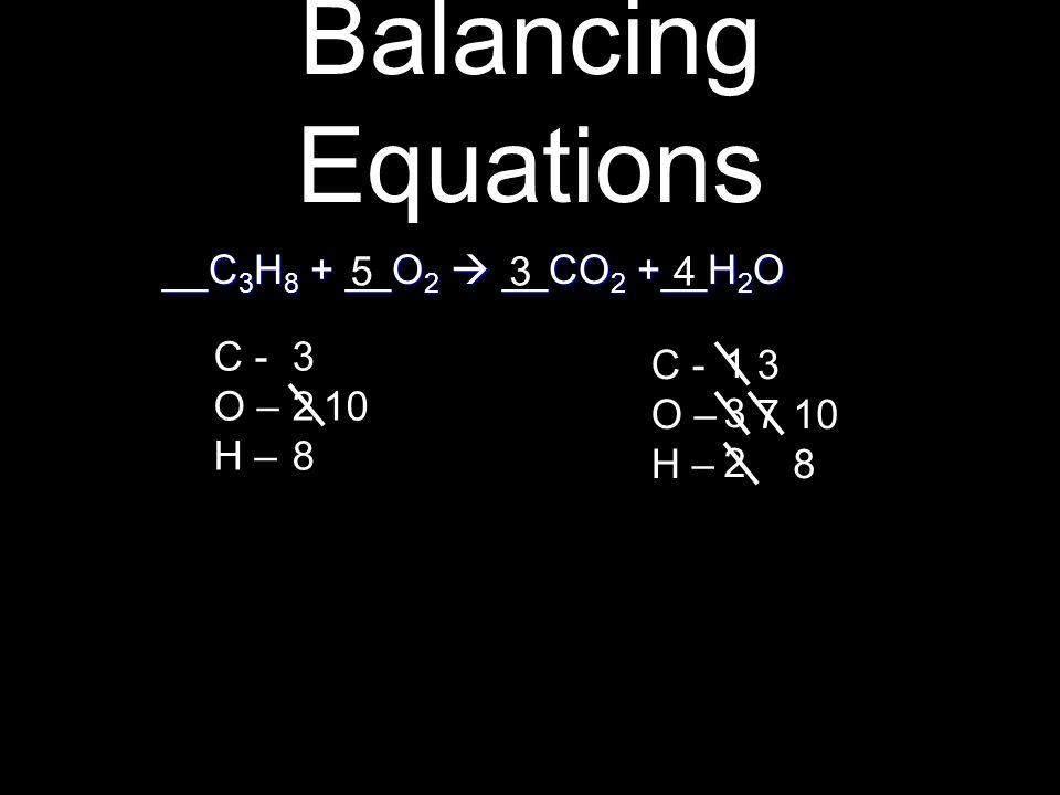 __C 3 H 8 + __O 2  __CO 2 +__H 2 O __C 3 H 8 + __O 2  __CO 2 +__H 2 O C - O – H – C - O – H – 328328 132132 3 3737 4 10 8 5 10 Balancing Equations