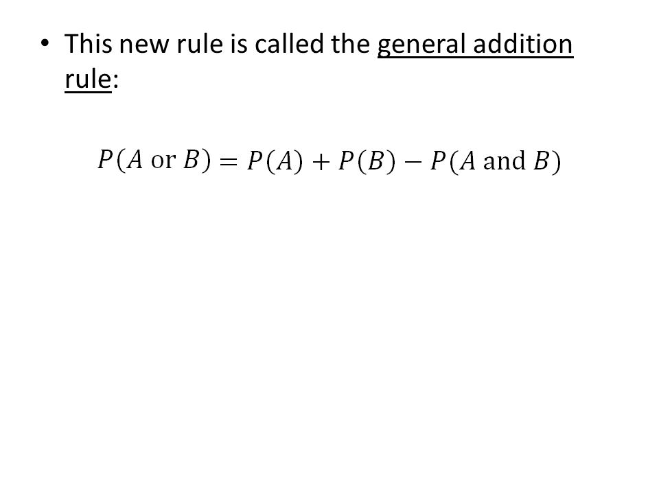 This new rule is called the general addition rule: