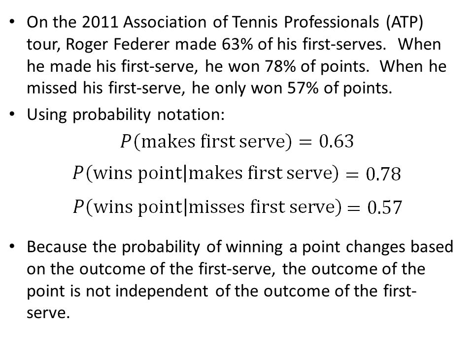 On the 2011 Association of Tennis Professionals (ATP) tour, Roger Federer made 63% of his first-serves. When he made his first-serve, he won 78% of po