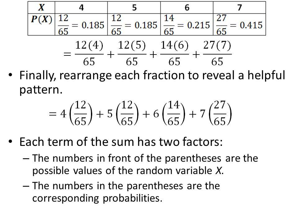 Finally, rearrange each fraction to reveal a helpful pattern.