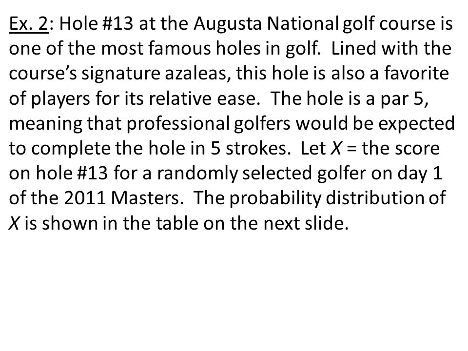 Ex. 2: Hole #13 at the Augusta National golf course is one of the most famous holes in golf. Lined with the course's signature azaleas, this hole is a