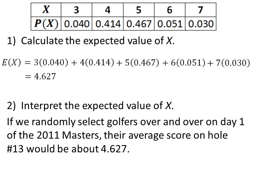 1)Calculate the expected value of X. 2)Interpret the expected value of X. If we randomly select golfers over and over on day 1 of the 2011 Masters, th