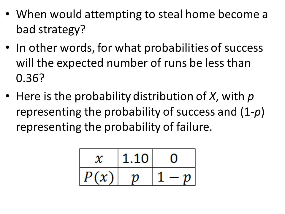 When would attempting to steal home become a bad strategy? In other words, for what probabilities of success will the expected number of runs be less