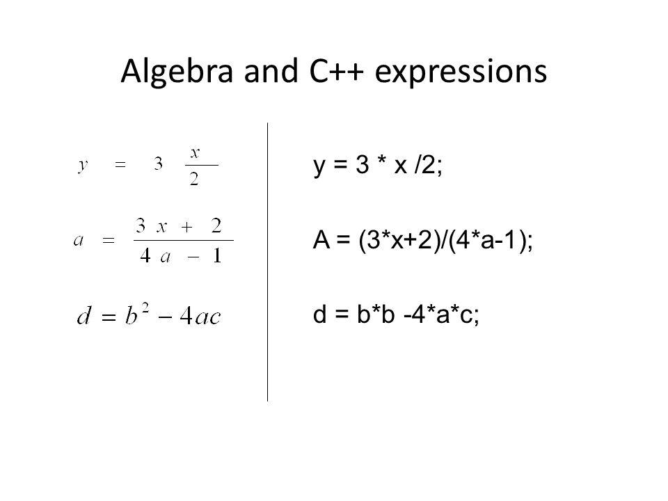 Algebra and C++ expressions y = 3 * x /2; A = (3*x+2)/(4*a-1); d = b*b -4*a*c;