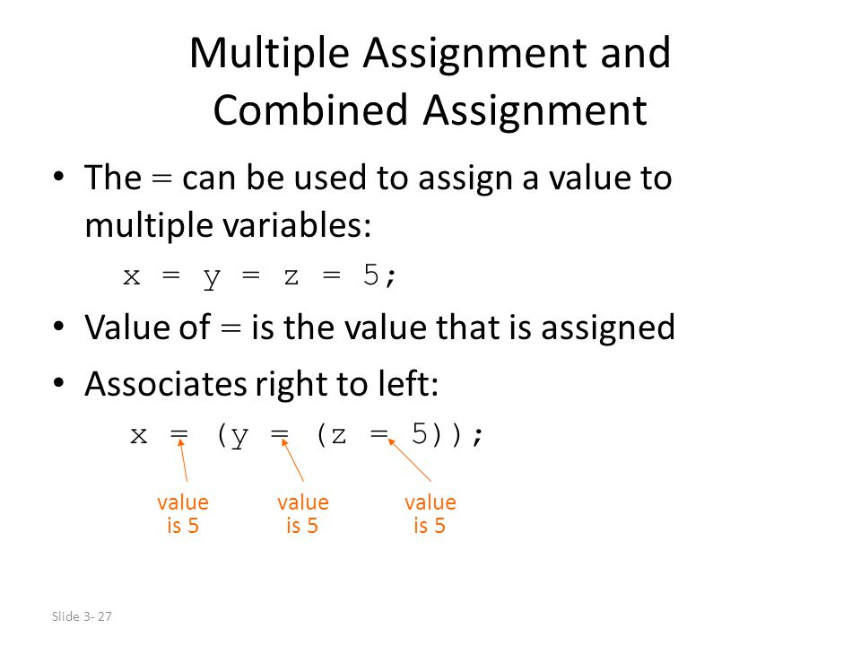 Slide 3- 27 Multiple Assignment and Combined Assignment The = can be used to assign a value to multiple variables: x = y = z = 5; Value of = is the va