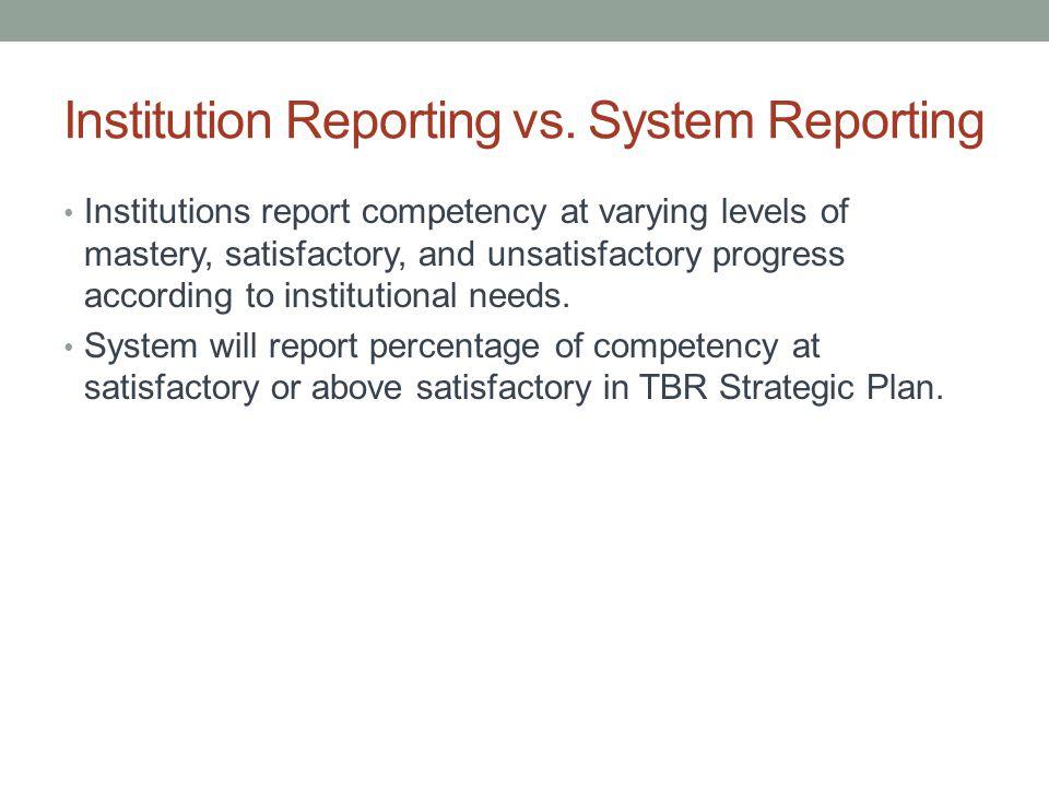 Institution Reporting vs.