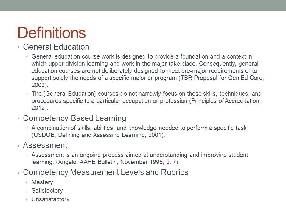 Recommendations Consistent direction on how to report out competency- based learning.