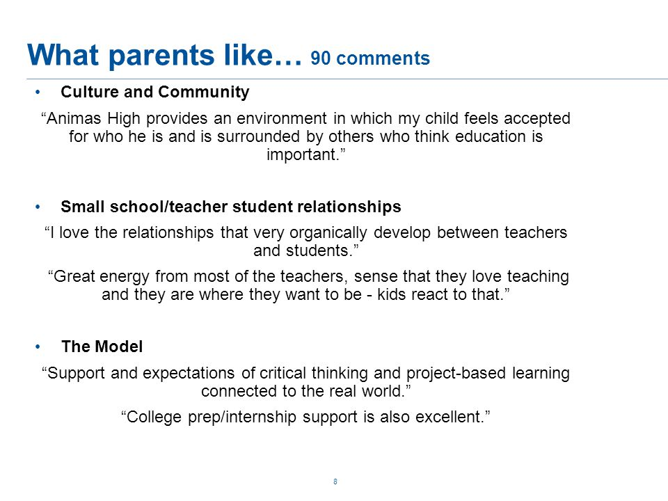 What parents like… 90 comments 8 Culture and Community Animas High provides an environment in which my child feels accepted for who he is and is surrounded by others who think education is important. Small school/teacher student relationships I love the relationships that very organically develop between teachers and students. Great energy from most of the teachers, sense that they love teaching and they are where they want to be - kids react to that. The Model Support and expectations of critical thinking and project-based learning connected to the real world. College prep/internship support is also excellent.