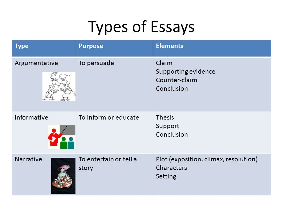 Types of Essays TypePurposeElements ArgumentativeTo persuadeClaim Supporting evidence Counter-claim Conclusion InformativeTo inform or educateThesis Support Conclusion NarrativeTo entertain or tell a story Plot (exposition, climax, resolution) Characters Setting