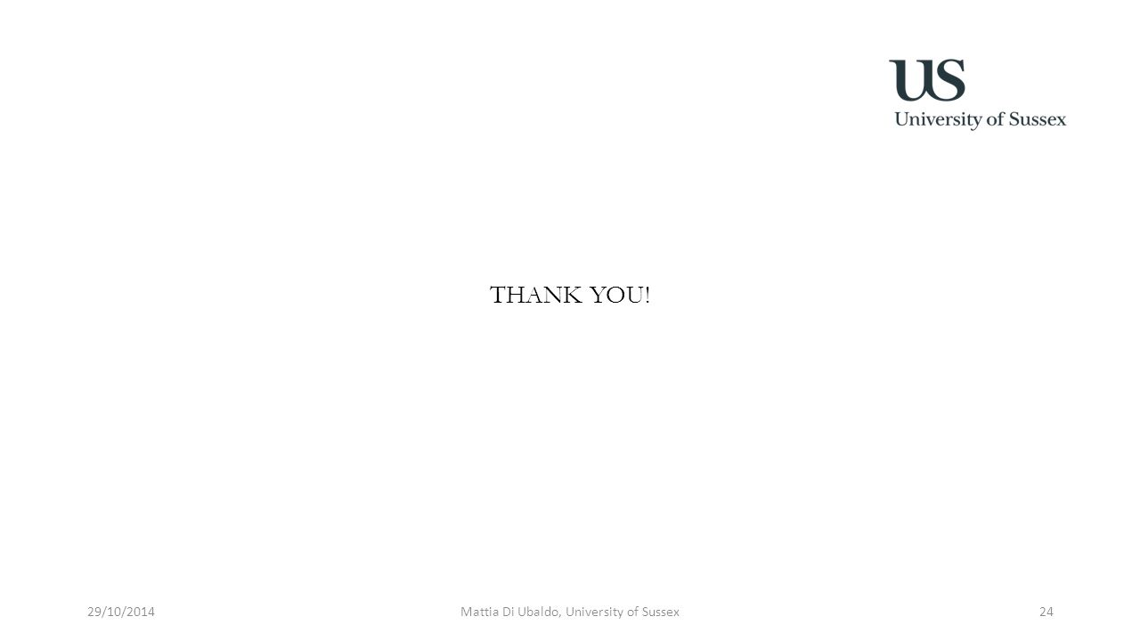 THANK YOU! 29/10/2014Mattia Di Ubaldo, University of Sussex24