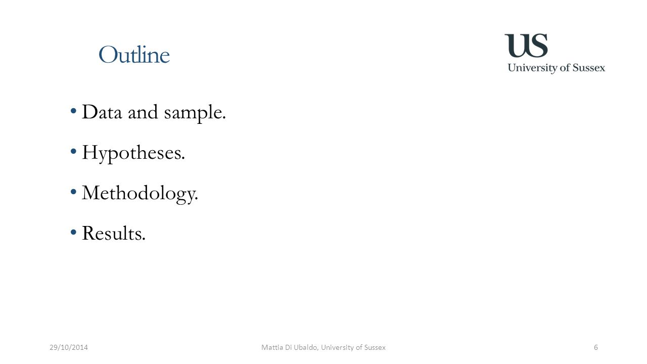 Outline Data and sample. Hypotheses. Methodology.