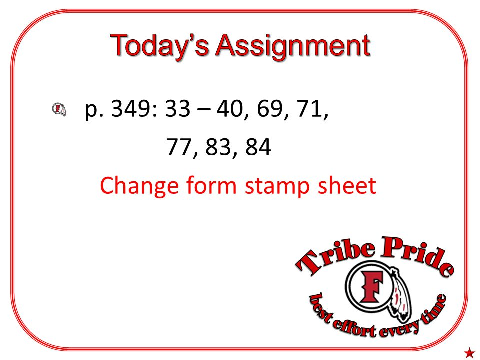 p. 349: 33 – 40, 69, 71, 77, 83, 84 Change form stamp sheet