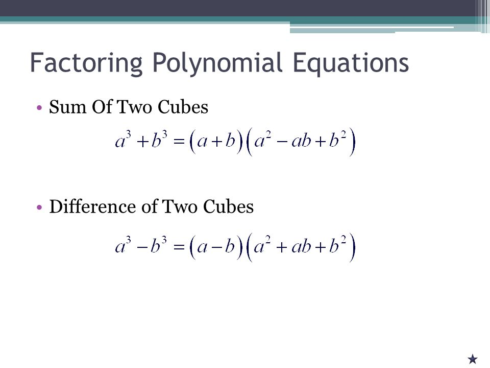 Factoring Polynomial Equations Recap ▫Always look for common factors first ▫Check for Special Patterns  Difference of Two Squares  Perfect Square Trinomial  Sum/Difference of Two Cubes ▫ I-Thing quadratic equations ▫Look for ways to group
