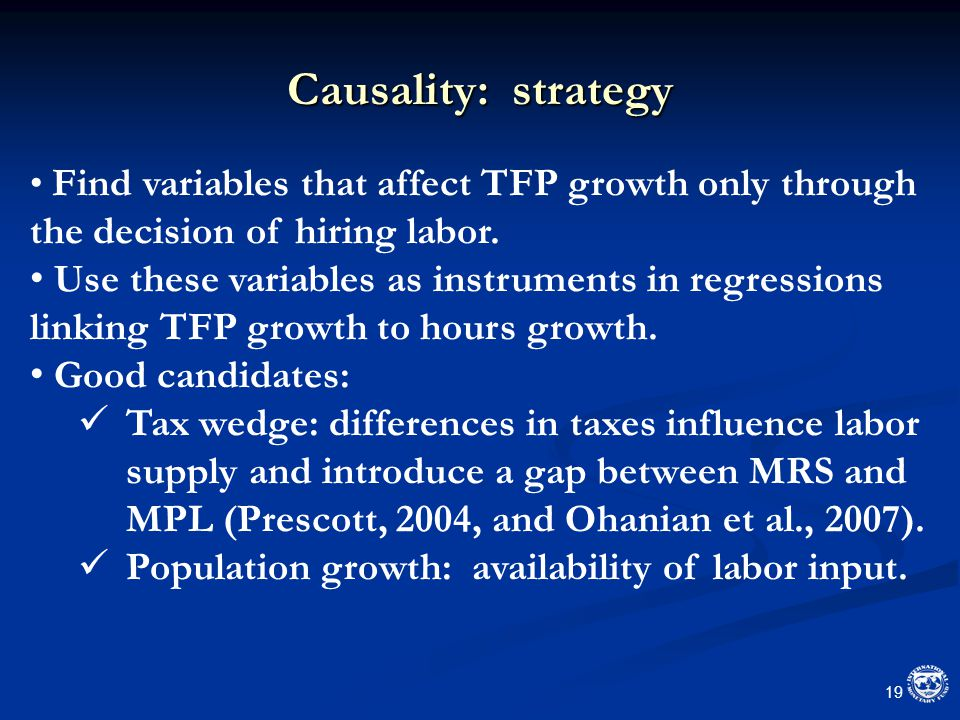 Causality: strategy 19 Find variables that affect TFP growth only through the decision of hiring labor.