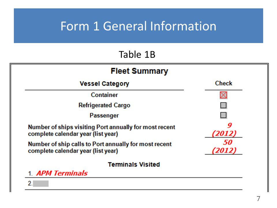 Form 1 General Information Table 1B 7