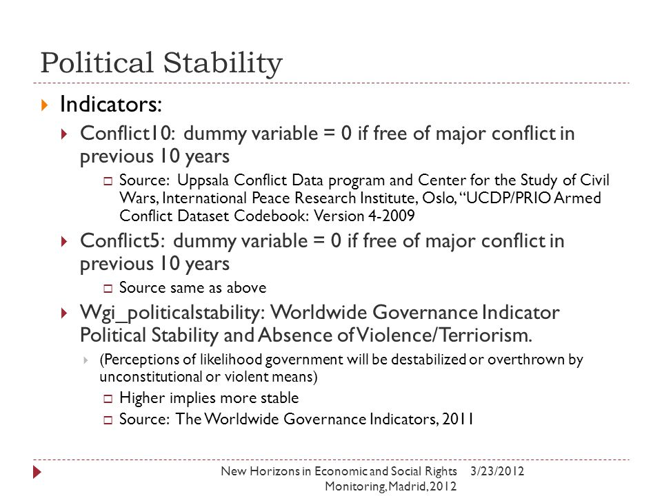 Political Stability 3/23/2012New Horizons in Economic and Social Rights Monitoring, Madrid, 2012  Indicators:  Conflict10: dummy variable = 0 if free of major conflict in previous 10 years  Source: Uppsala Conflict Data program and Center for the Study of Civil Wars, International Peace Research Institute, Oslo, UCDP/PRIO Armed Conflict Dataset Codebook: Version 4-2009  Conflict5: dummy variable = 0 if free of major conflict in previous 10 years  Source same as above  Wgi_politicalstability: Worldwide Governance Indicator Political Stability and Absence of Violence/Terriorism.