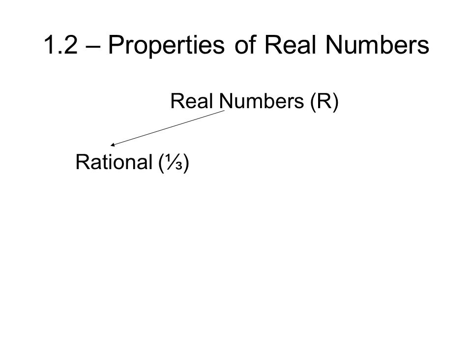 1.2 – Properties of Real Numbers Real Numbers (R) Rational (⅓)