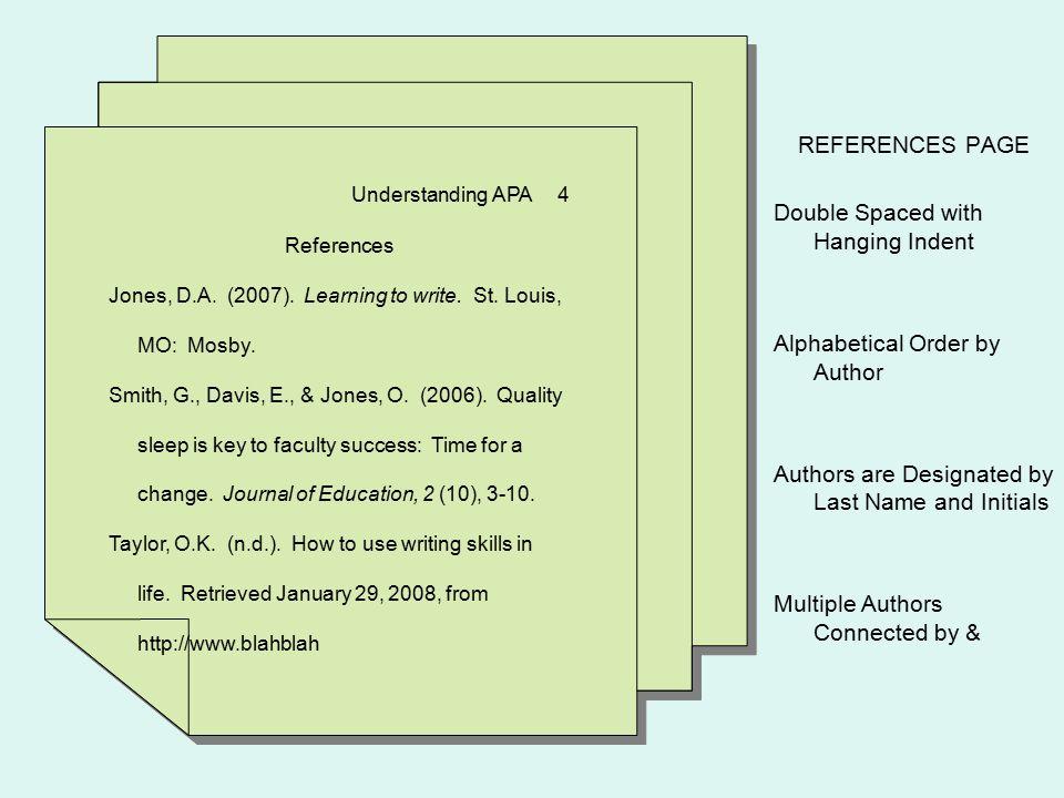 Understanding APA 4 References Jones, D.A. (2007).