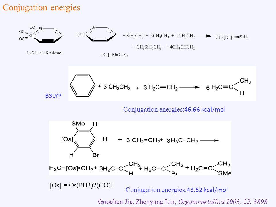 B3LYP Guochen Jia, Zhenyang Lin, Organometallics 2003, 22, 3898 [Os] = Os(PH3)2(CO)I Conjugation energies :46.66 kcal/mol Conjugation energies: 43.52 kcal/mol Conjugation energies