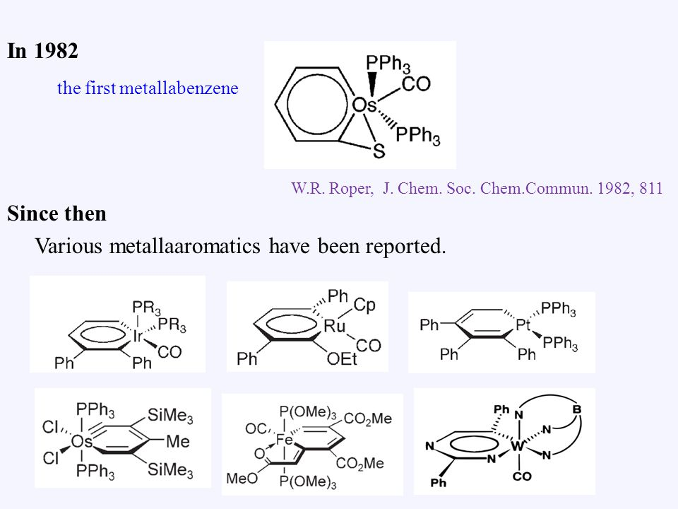 In 1982 Since then Various metallaaromatics have been reported.